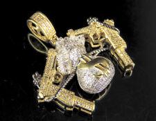 "Men's Money Bag Dollar Gun Diamond Pendant Charm In 10K Yellow Gold 1.5"" 3/4 CT"
