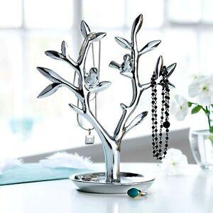 Schmuckbaum mit Vögelchen Schmuckhalter silber 21 cm Schmuckständer Deko