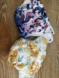 Designer Bums Mermaid & Peonies w Inserts resusable nappy MCN Modern Cloth GUC