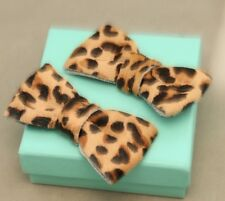 Sexy Leopard Skin Pattern Horse Fur Bow Women Boots Shoe Clips Pair