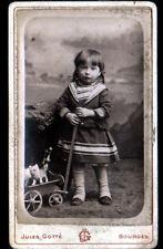 BOURGES (18) PHOTOGRAPHIE Jules GOTTE / Carte-Photo de VISITE / ENFANT & JOUETS