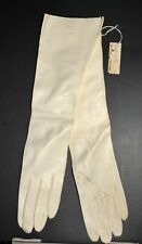 Vintage White Kid Leather Gloves 15� Long Made in Italy Size 7 Ohrbach's Tag