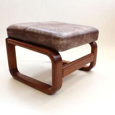 Teca madera taburete otomano Danish Modern design Teak Leather stool 1960s