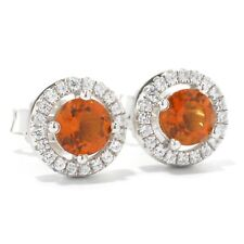 Pinctore Platinum o/ Silver 1.03ctw Madeira Citrine Stud Earrings