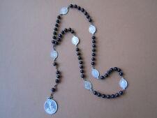Alter Rosenkranz mit schwarzen Holzperlen 8 Pilgermedaillen Alu 11,1 g/41 cm