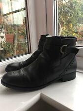 Clarks Women's Netley Olivia Black Leather Zip Up Low Heel Ankle Boots UK 7.5 D