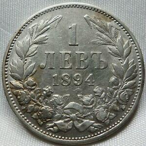 BULGARIA silver 1 lev 1894 VF+ Ferdinand I. #B94