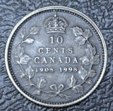 1908-1998 CANADA 10 CENTS - .925 SILVER PROOF - Antique Finish - 90th Anniv. RCM