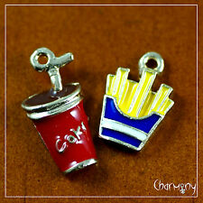Enamel Soda & French Fries charm set of 2~ cola cup chips straw junk food snack