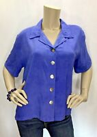 Nomadic Traders Medium Purple Blue Button Front Short Sleeve Top Shirt Blouse