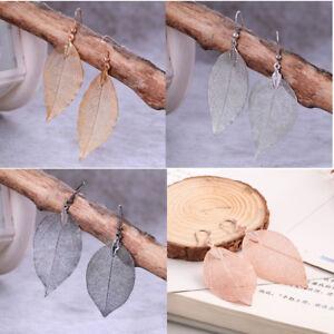 Ohrringe Gold Silber Rosegold Schwarz Natural Leaf Anhänger Echtes Blatt Unikat