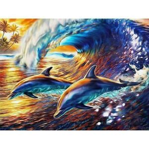 Round Drill 5D Diamond Painting Embroidery Dolphin Craft Art Decoration