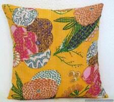 "Vintage Yellow Fruit Print Handmade 16"" Indian Kantha Cushion Cover Pillow Case"