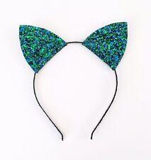 Halloween Cat Ears Headband, Blue Green Glitter Cheshire Cat Fancy Dress Peacock