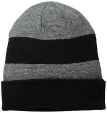 Original levi`s Core plana Knit Beanie Hat. Negro y Gris Brezo, un tamaño, nuevo