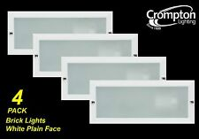 4 x White Recessed Wall Light / Brick Light Plain Face