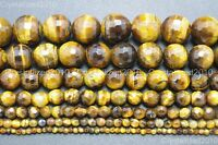 """Natural Tiger's Eye Gemstone Faceted Round Beads 2mm 4mm 6mm 8mm 10mm 12mm 15"""""""
