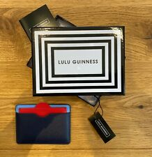 Lulu Guinness Cate Lips Cutout Leather Cardholder - Sky/Navy Blue - New & Boxed