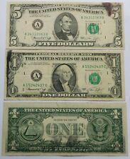 3 Error Bills Deep Ink & Smear, 1974 $1 + $5 Federal Reserve Notes