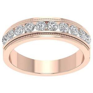 Men's Engagement Ring I1 G 1.03 Carat Genuine Diamond 14K Rose Gold Channel Set