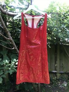PVC Red Mini Razer Back Dress