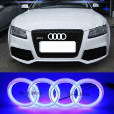 Car Led Sport Blue Grille Logo Emblem Lights For Audi Q7 A6 A7 Q3 Q5 28.8X9.9CM