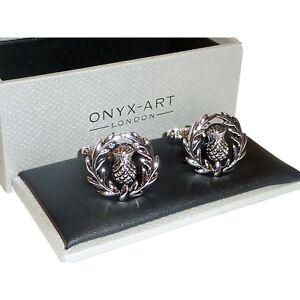 Scottish Thistle Cufflinks - High Quality Onyx Art - Gift Boxed - Scotland Scots
