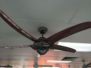 """Vento Uragano 54"""" indoor fan woodgrain blades and gun metal body"""