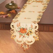 Elegant Embroidered Fall Pumpkin Thanksgiving Polyester Table Runner