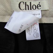 Pantaloni neri Chloé pura seta taffetà shantung 40 nuovi riga ufficio