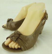 Hispanitas Wos Slingbacks Heels EU 37 US 7 Brown Leather Sandals Peep Toe 4984