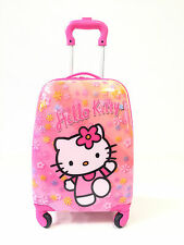 """Children Kids Holiday Travel Character Suitcase Luggage Trolley Bags 18"""" Hello"""