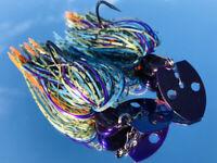 2 Custom Made 1/2oz Bass Bladed-Vibrating-Bait-Swim Jigs Color-(Bluegill)
