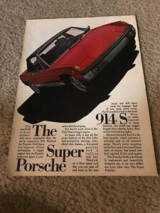 "Vintage 1972 PORSCHE 914-S Car Print Ad 1970s RED ""THE SUPER PORSCHE"" RARE"