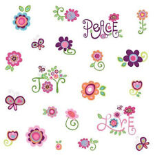 PEACE, LOVE, JOY WALL DECALS STICKERS FLOWERS FLORAL    RMK1649SCS
