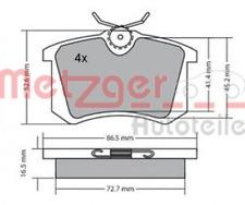 Bremsbelagsatz, Scheibenbremse für Bremsanlage Hinterachse METZGER 1170001