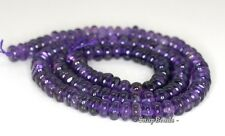 6X4MM  AMETHYST GEMSTONE RONDELLE LOOSE BEADS 7.5