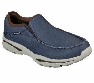 Skechers Navy Shoes Men Canvas Memory Foam Slip On Comfort Loafer Casual 204038