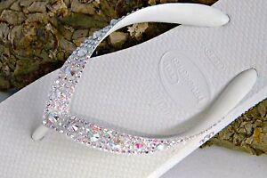 Havaianas Wedding Flip Flops Full Moon w/ Swarovski Crystal Bling Bridal Shoes