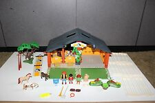 Playmobil 3120 Horse Stable barn w horses, figures, fence almost Complete
