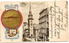 PMC-B&W OLD SOUTH MEETING HOUSE,1630 SEAL OF BOSTONIA IN COLOR-BOSTON,MA 1907