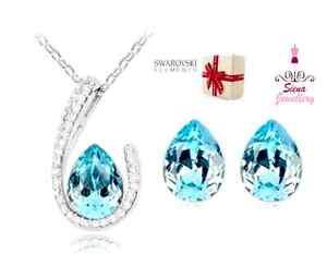 18k white gold Bridal set Wedding Jewellery AquaMarine necklace earrings crystal