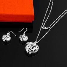 women lady silver Plated Fashion Beautiful cute Heart Necklace Earring set S2
