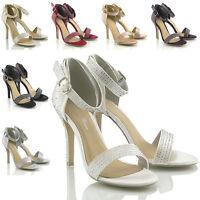 ladies silver diamante strappy sandal high heels bridal