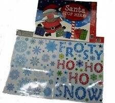 3 Giant Sheets of Christmas Window Stickers Snowflakes & Santa Stop Here Sign