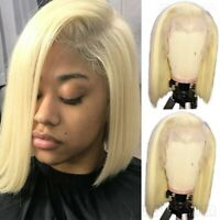 Remy 613 Blonde Bob Lace Front Wig Indian Human Hair Short Straihht Full Wig Nhh