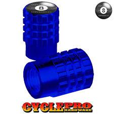 2 Blue Billet Knurled Tire Valve Cap Motorcycle - 8 BALL - 015