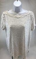 LOFT Women's White/Purple Short Sleeve Striped Casual T-Shirt Sz L