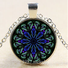 New Cabochon Glass Silver/Bronze/Black Chain Pendant Necklace Mandala blue