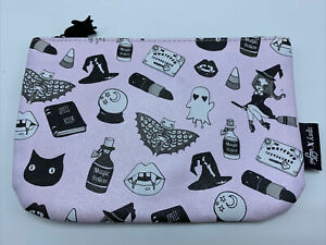 """Ipsy Valfie Halloween Zippered Bag 7x4"""" Witch Black Cat Potion make up pouch"""
